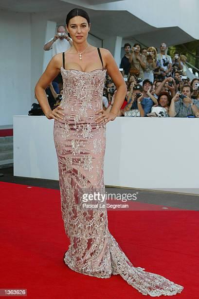 Italian actress, Monica Bellucci, arrives at the palazzio del cinema to attend the Golden lion prize ceremony for Italian director Dino Rizzi's...