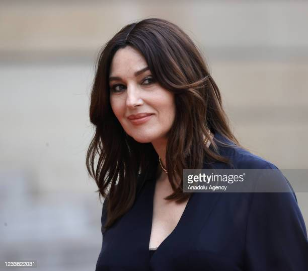 Italian actress Monica Bellucci arrives for a state dinner with the French President Emmanuel Macron and the Italian President Sergio Mattarella at...