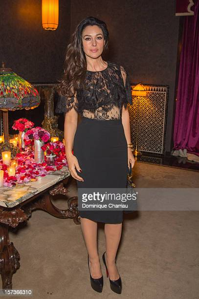 Italian Actress Monica Bellucci attends the Dior dinner at hotel Selman during the 12th International Marrakech Film Festival on December 2, 2012 in...