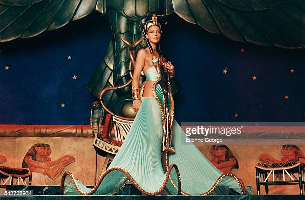 Italian actress Monica Bellucci on the set of Asterix and Obelix Meet Cleopatra written by Rene Gosciny and Albert Uderzo and directed by Alain Chabat
