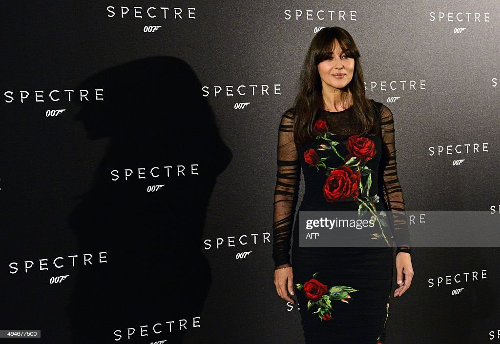 Italian actress Monica Bellucci poses during a photocall for the new James Bond saga film 'Spectre' on October 28, 2015 in Madrid.