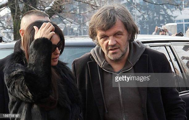 Italian actress Monica Belluci and Bosnian born film director Emir Kusturica arrive for a meeting with Bosnian Serb officials in WesternBosnian town...