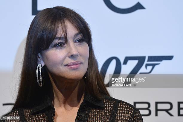 Italian actress Monica Belluci attends the Premiere of the new James Bond film 'Spectre' on October 27 2015 in Rome AFP PHOTO / TIZIANA FABI