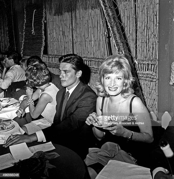 Italian actress Monica Vitti having a coffee after the dinner for the 'Ciak d'oro' award ceremony in a club in Torvaianica on the coast of Lazio...