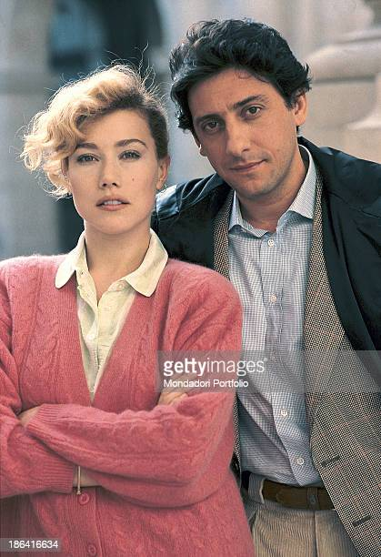 Italian actress Nancy Brilli and Italian actor and director Sergio Castellitto posing on the set of the TV film Un cane sciolto 1989