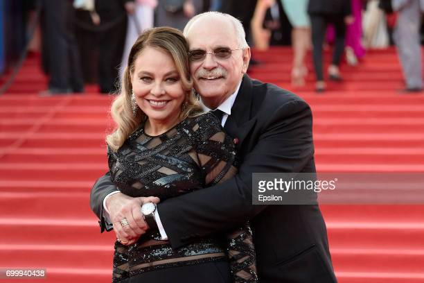Italian actress Ornella Muti and Russian film director Nikita Mikhalkov attend opening of the 39th Moscow International Film Festival outside the...