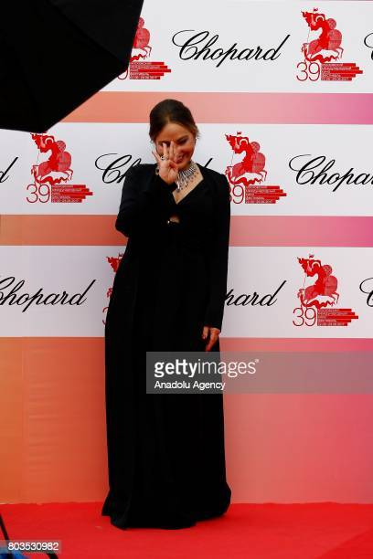 Italian actress Ornella Muti attends red carpet within the closing ceremony of the 39th Moscow International Film Festival in Moscow Russia on June...