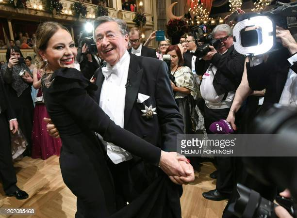 Italian actress Ornella Muti dance with Richard Lugner at the Vienna State Opera during the annual Opera Ball in Vienna Austria on February 20 2020 /...
