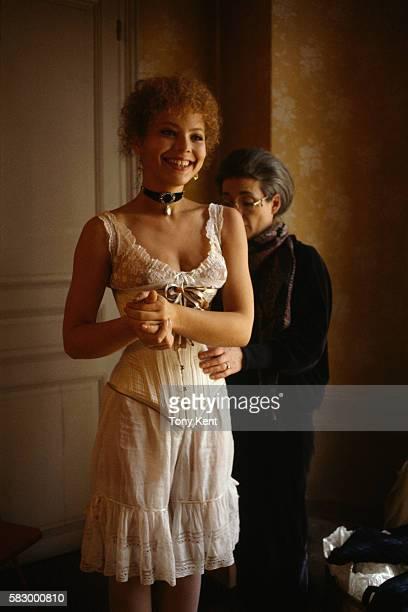 Italian actress Ornella Muti on set of the film Un Amour de Swann directed by Volker Schlondorff