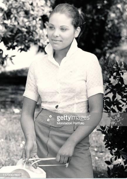 Italian actress Ornella Muti posing for a photo shooting 1970s