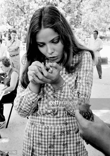 Italian actress Ornella Muti with a sparrow Madrid, Spain.