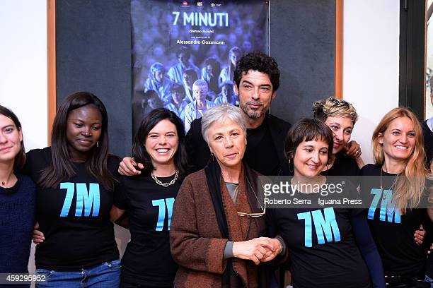 Italian actress Ottavia Piccolo and director Alessandro Gassman attends the press conference where unveils thier new theatrical work 7 Minuti at...
