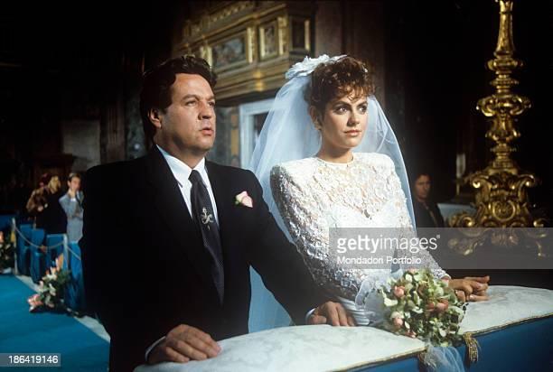 Italian actress Paola Onofri and Italian actor and comedian Renato Pozzetto getting married in the film Casa mia casa mia Italy 1988