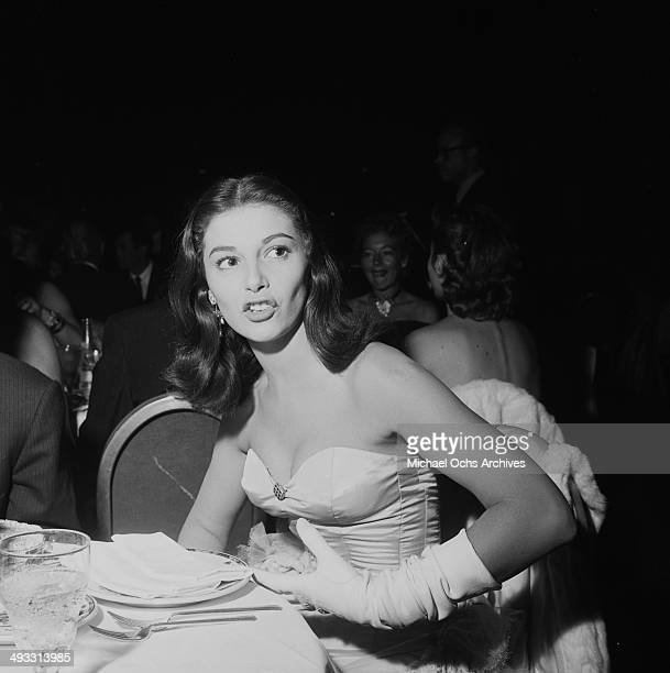 Italian actress Pier Angeli at Cocoanut Grove to listen to Eddie Fisher in Los Angeles California