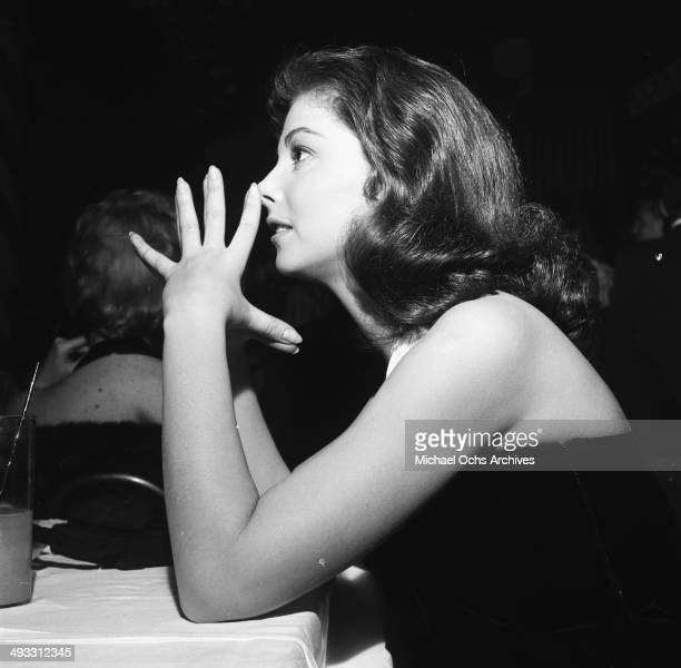 Italian actress Pier Angeli at dinner at Mocambo's in Los Angeles California