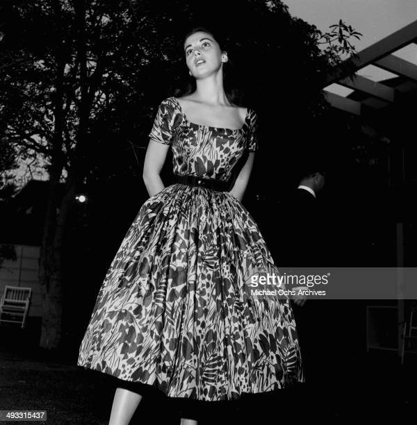 Italian actress Pier Angeli attends a garden party in Los Angeles California