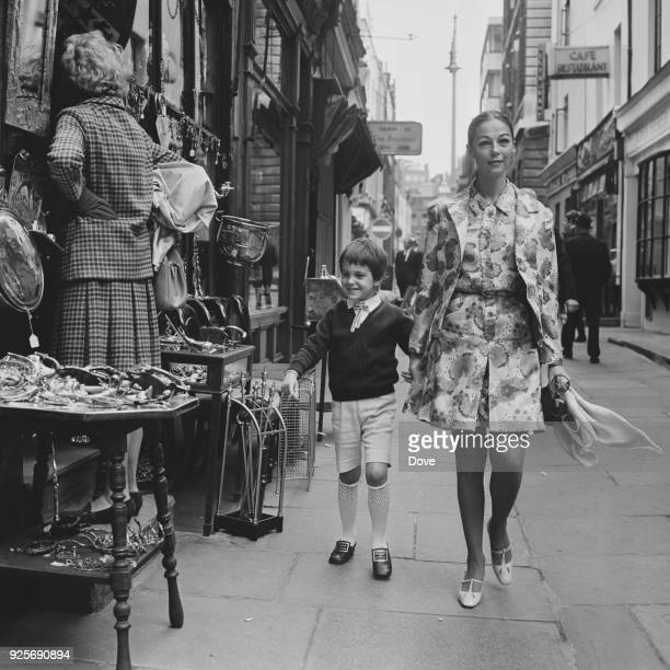 Italian actress Pier Angeli shopping in London with her son Howard UK 14th June 1968