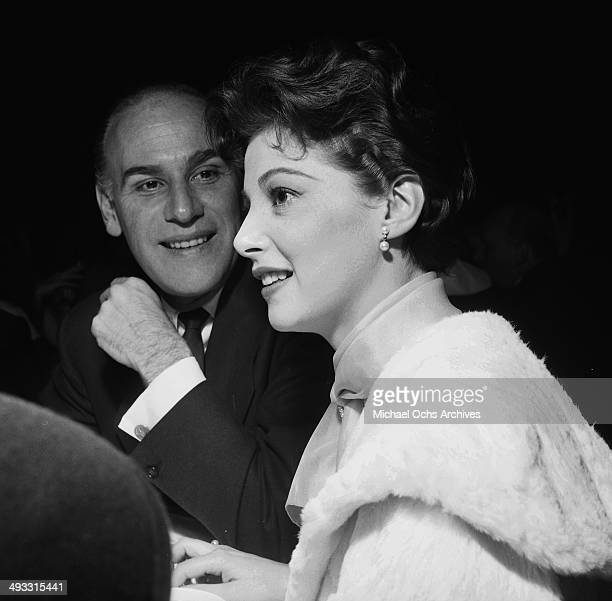 Italian actress Pier Angeli with MGM hair stylist Sydney Guilaroff at dinner at Cocoanut Grove in Los Angeles California