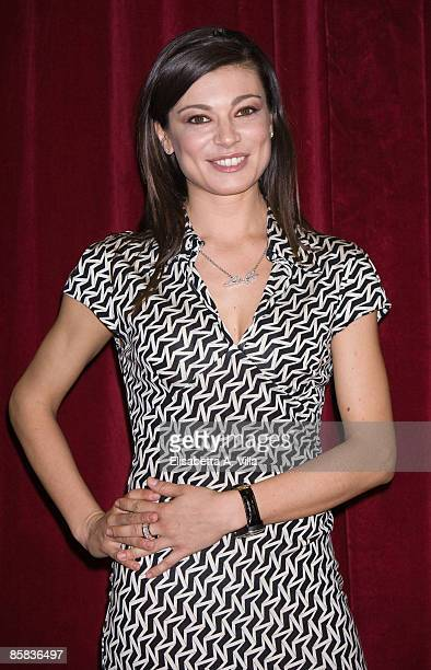 Italian actress Roberta Lanfranchi attends a photocall for the musical 'Cinderella' at Sistina Theatre on April 7, 2009 in Rome, Italy.