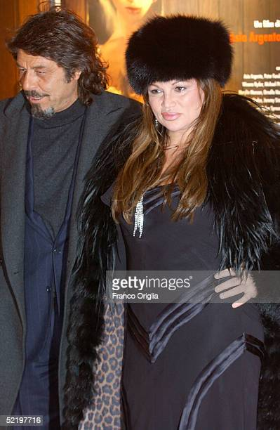 Italian actress Serena Grandi and her friend Arnaldo attend the premiere of new movie 'The Heart Is Deceitful Above All Things' at the Embassy Cinema...
