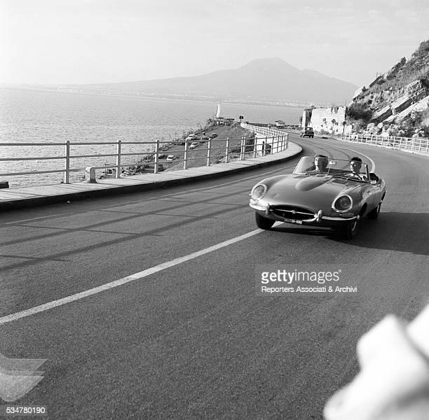 Italian actress Silva Koscina and French actor Jean Sorel driving in Made in Italy Italy 1965
