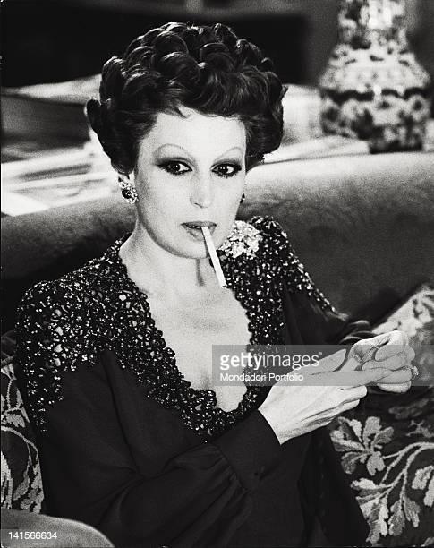 Italian actress Silvana Mangano playing the marchesa Bianca Brumonti on set of the film Rome 1970s