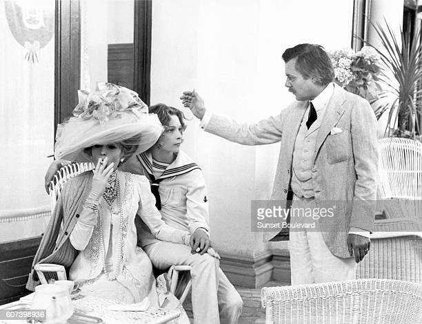 Italian actress Silvana Mangano, Swedish actor Bjorn Andresen, and British actor Dirk Bogarde on the set of Morte a Venezia , written and directed by...