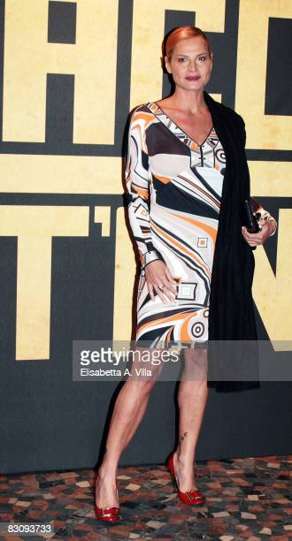 Italian actress Simona Ventura wearing Pucci attends Miracle At St Anna premiere at Warner Moderno Cinema on October 2 2008 in Rome Italy