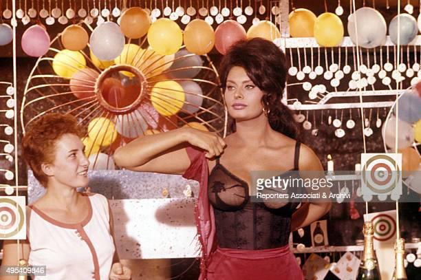 Italian actress Sophia Loren acting in a lace leotard in the episode La Riffa from the film Boccaccio '70 1961