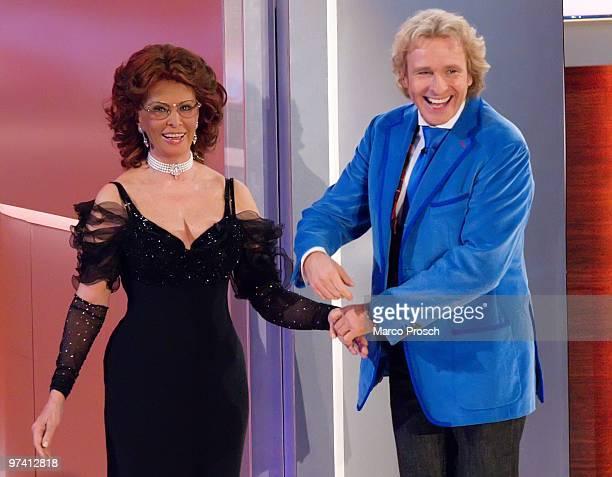 "Italian actress Sophia Loren and German presenter Thomas Gottschalk attend the 187th ""Wetten, dass...?"" show at the Messe Erfurt on February 27, 2010..."
