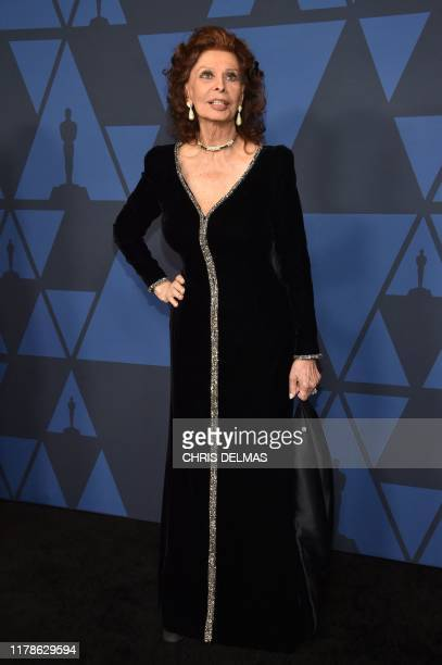 Italian actress Sophia Loren arrives to attend the 11th Annual Governors Awards gala hosted by the Academy of Motion Picture Arts and Sciences at the...