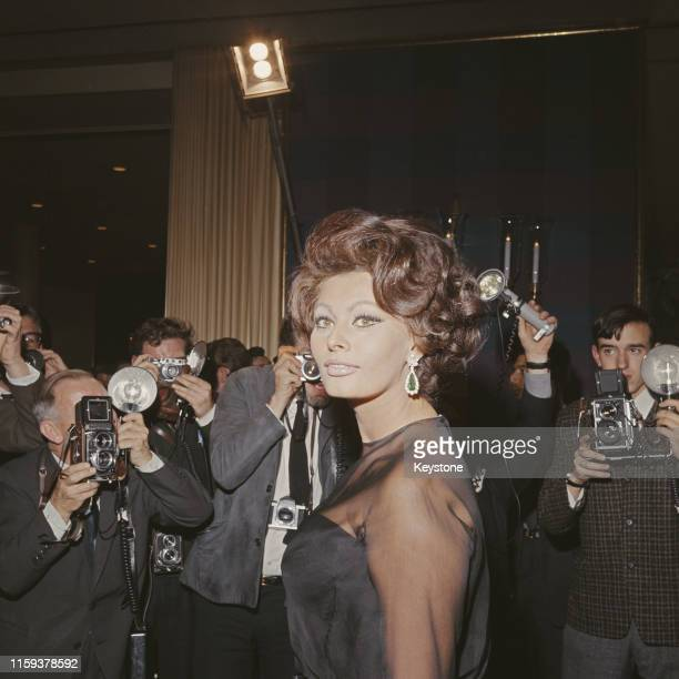 Italian actress Sophia Loren at the Savoy Hotel in London, England, for a press conference on her upcoming film 'A Countess from Hong Kong', 1st...