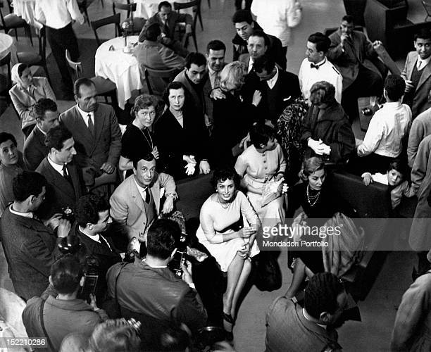 Italian actress Sophia Loren attending a party in her honour. Her mother Romilda Villani, her sister Maria Scicolone and Italian fashion designer...