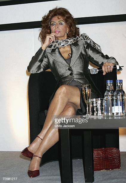 Italian actress Sophia Loren attends a press conference at the launch of the 2007 Pirelli calendar at the Hilton Hotel on November 16 2006 in London...