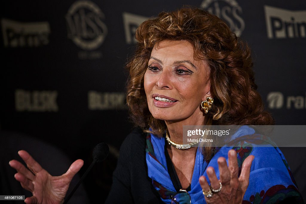 Italian actress Sophia Loren attends the Czech Miss 2014 beauty contest final press conference on March 28, 2014 in Prague, Czech Republic. Loren is invited as a member of a jury for the Czech Miss 2014 beauty contest final and she will crown the new Czech Miss. Final will be held on March 29.