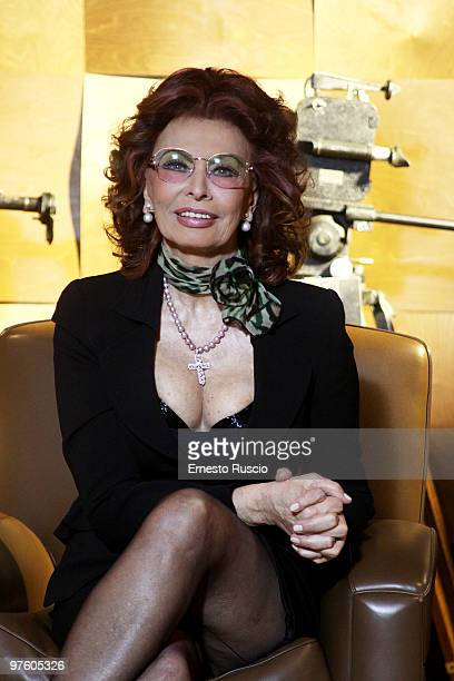 Italian actress Sophia Loren attends the 'La Casa Degli Specchi' photocall at Sala Fellini Cinecitta on March 10 2010 in Rome Italy