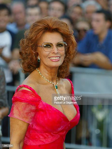 Italian actress Sophia Loren attends the opening ceremony of the 59th Venice Film Festival August 29 2002 in Venice Italy The annual film festival...