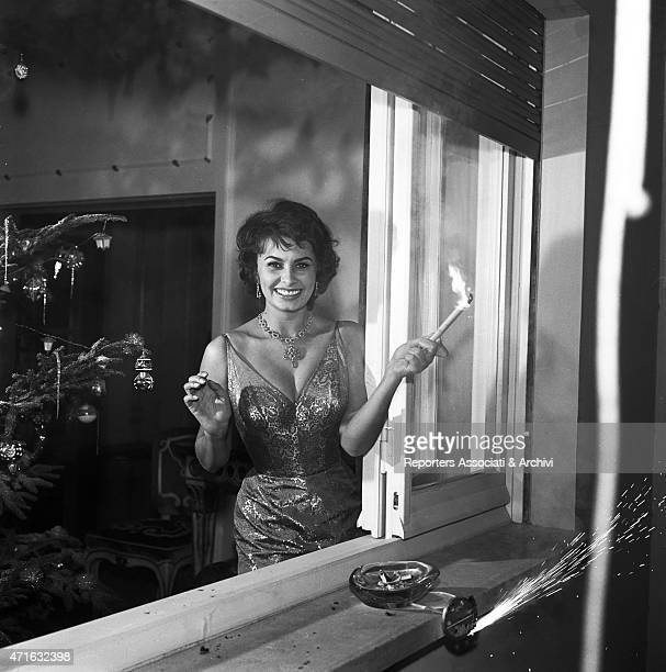 Italian actress Sophia Loren celebrating the New Year 1956