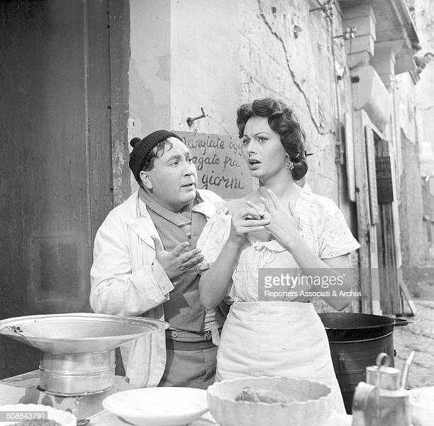 Italian actress Sophia Loren in the film 'The Gold of Naples' during the sixth episode 'Pizzas on Credit ' Naples 1954