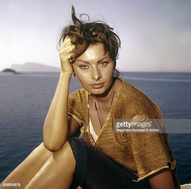 Italian actress Sophia Loren on the set of the film 'Boy on a Dolphin' Greece 1957