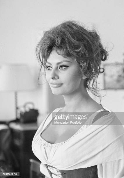 Italian actress Sophia Loren playing Catherine Hubscher on the set of the film 'Madame ' 1961