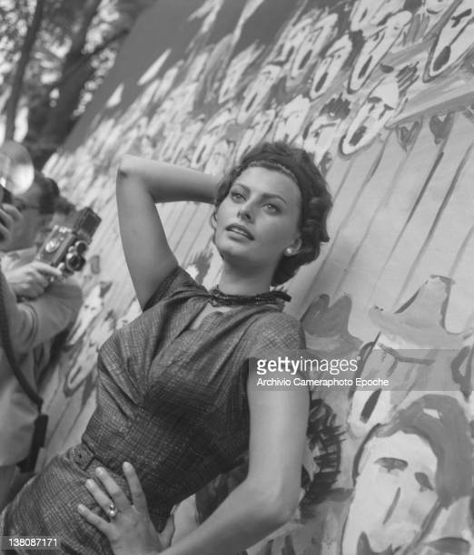 Italian actress Sophia Loren portrayed during a shooting at Lido Venice 1958