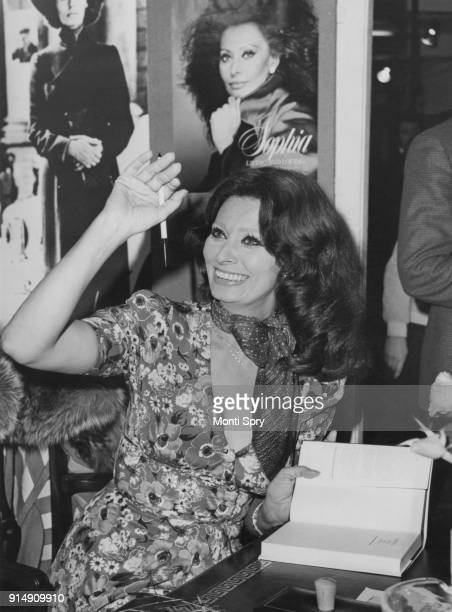 Italian actress Sophia Loren signs copies of the book 'Sophia Loren Living and Loving' cowritten with A Hotchner at Liberty's in London 27th March...