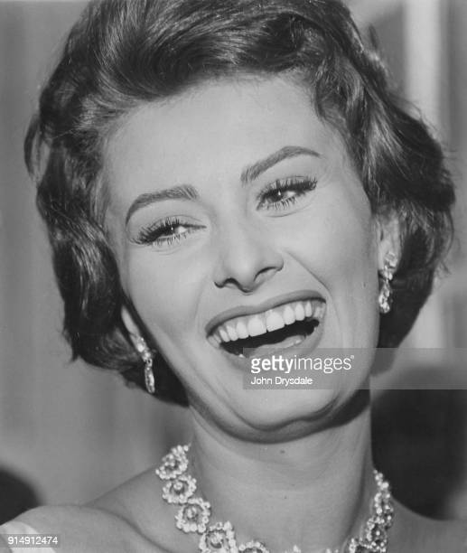 Italian actress Sophia Loren throws a press party in London, where she is about to start working on the film 'The Key', circa 1957.