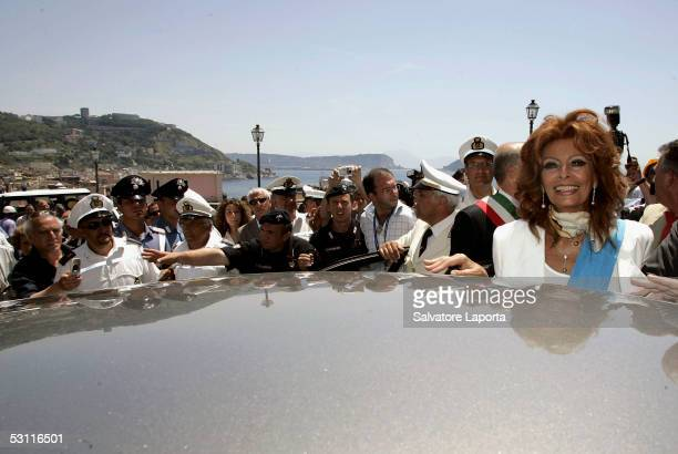 Italian actress Sophia Loren visits her home town the village of Pozzuoli to receive a Civitas Award June 22 2005 in Pozzuoli Italy