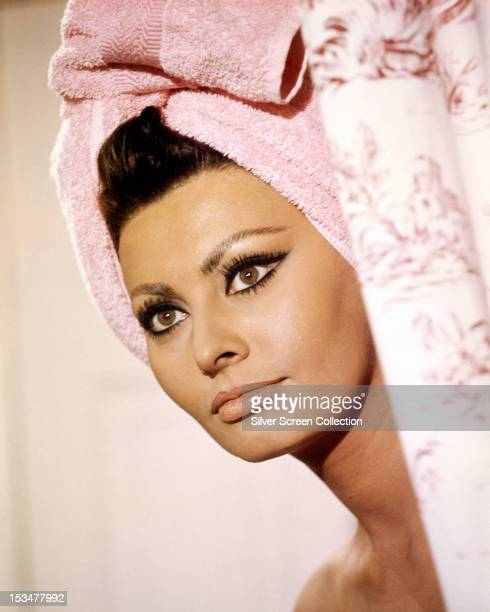 Italian actress Sophia Loren with her hair wrapped in a towel in 'Arabesque' directed by Stanley Donen 1966