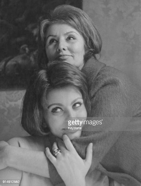 Italian actress Sophia Loren with her mother Romilda Villani at her home in Rome Italy after the news of her Academy Award Best Actress win for her...