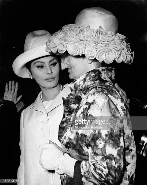 Italian actress Sophia Loren with her mother Romilda Villani attending the wedding of her sister Maria Scicolone Predappio 3rd March 1962