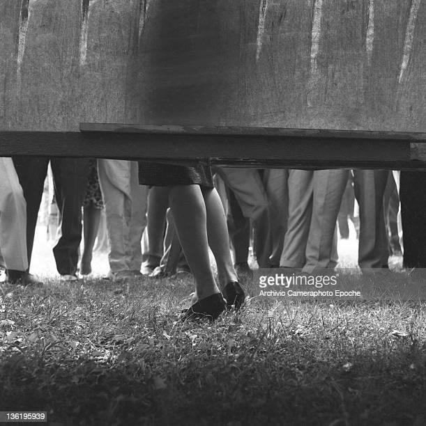 Italian actress Sophia Loren's legs portrayed against a wall during a film shoot Venice 1958