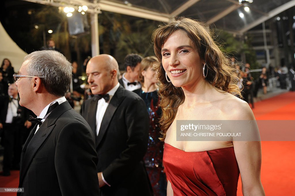 Italian actress Stefania Montorsi (R) arrives for the screening of 'La Nostra Vita' (Our Life) presented in competition at the 63rd Cannes Film Festival on May 20, 2010 in Cannes.